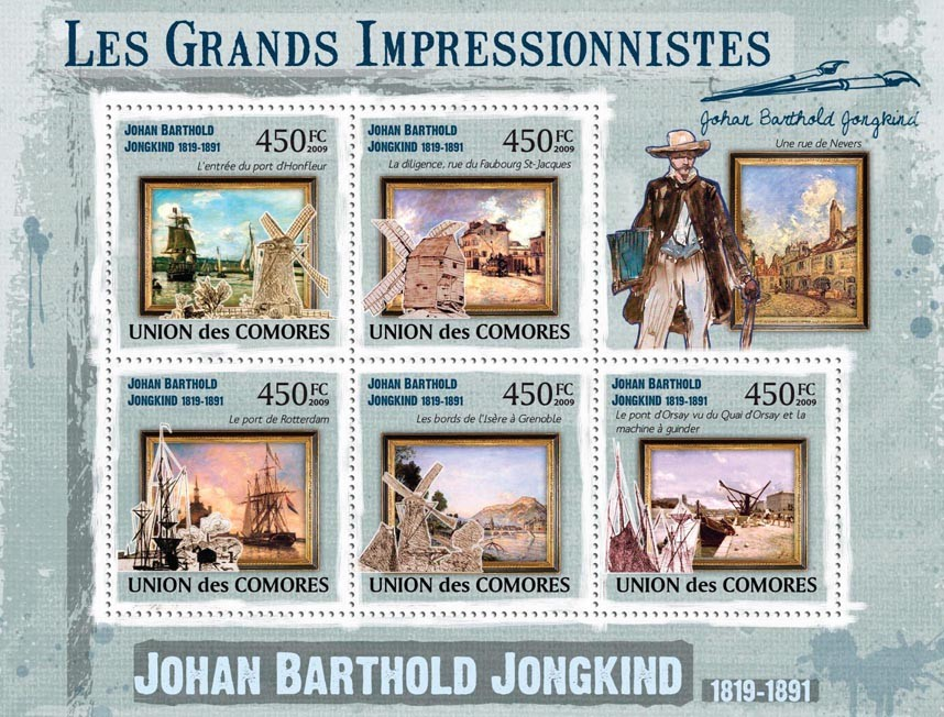 Paintings Johan Barthold Jongkind ( 1819  1891 ) - Issue of Comoros postage stamps
