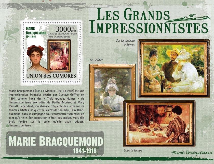 Paintings of Marie Bracquemond ( 1841  1916 ) - Issue of Comoros postage stamps