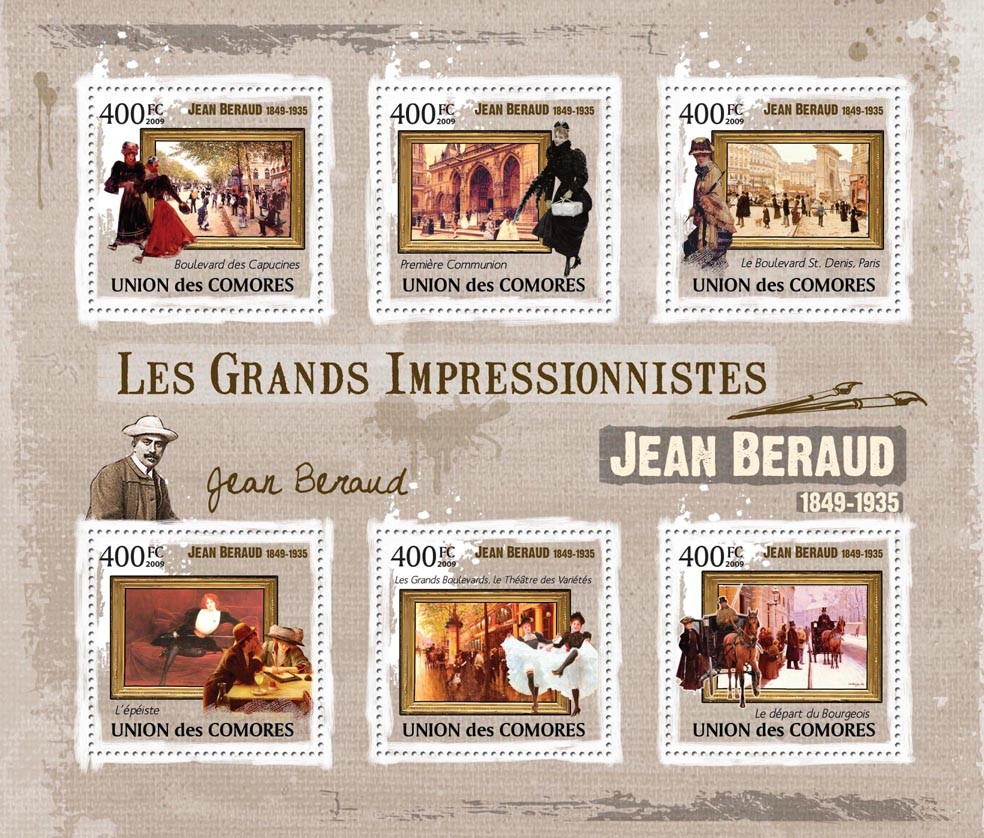 Paintings of Jean Beraud ( 1849 - 1935  ) - Issue of Comoros postage stamps