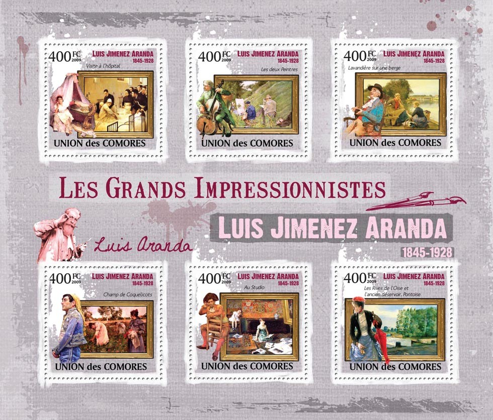 Paintings of Luis Jimenez Aranda ( 1845 - 1928  ) - Issue of Comoros postage stamps