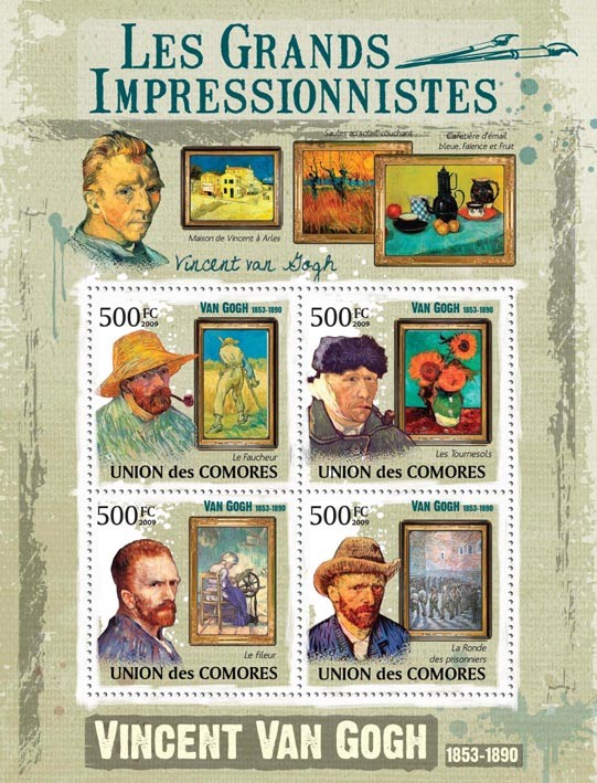 Paintings of Vincent Van Gogh ( 1853  1890 ) - Issue of Comoros postage stamps