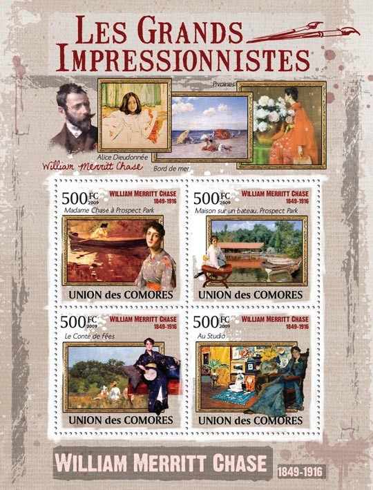 Paintings of William Merrit Chase ( 1849  1916 ) - Issue of Comoros postage stamps
