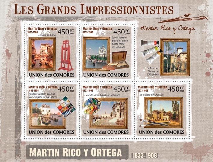Paintings of Martin Rico Y Ortega ( 1833 1908 ) - Issue of Comoros postage stamps
