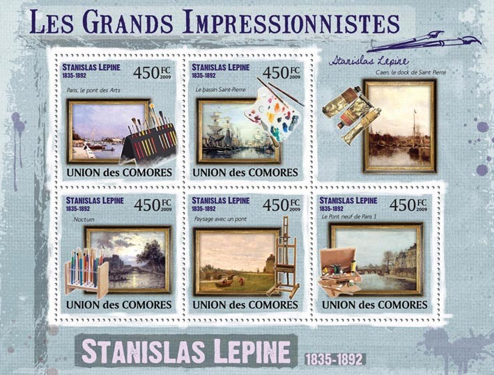 Paintings of Stanislas Lepine ( 1835  1892 ) - Issue of Comoros postage stamps