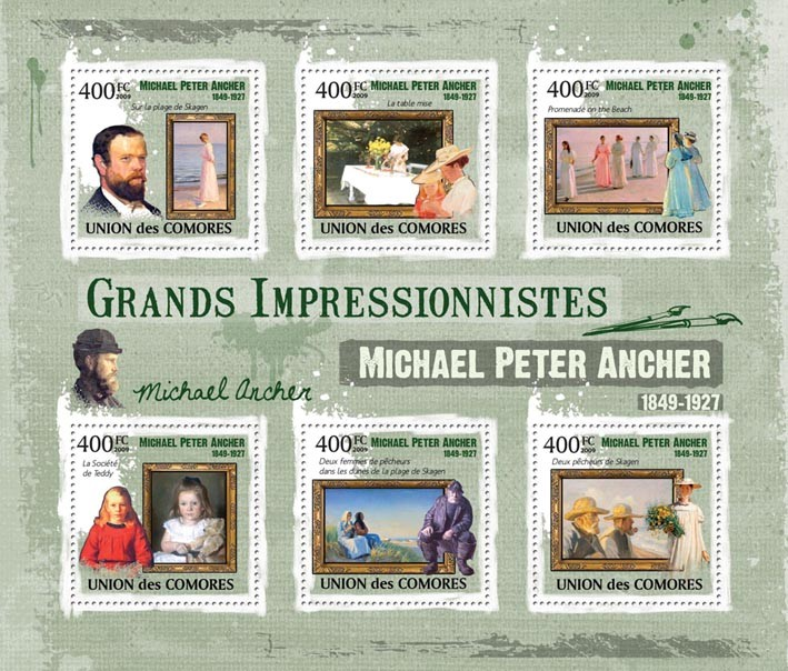 Paintings of  Michael Peter Ancher ( 1849  1927 ) - Issue of Comoros postage stamps