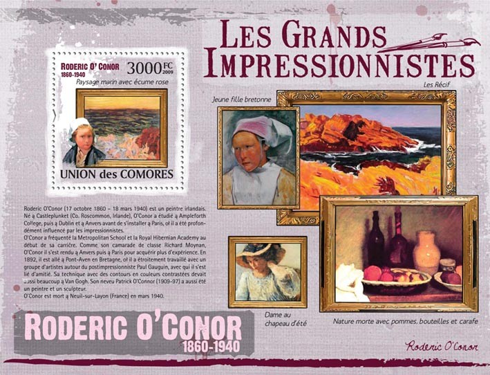 Paintings of Roderic O?タルConor ( 1860  1940 ) - Issue of Comoros postage stamps