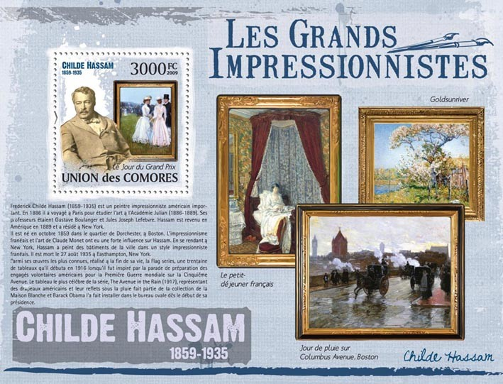 Paintings of Childe Hassam ( 1859  1935 ) - Issue of Comoros postage stamps