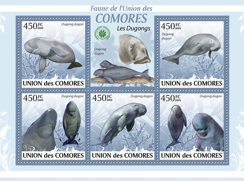 Marine mammal Dugong Dugong dugon?タᆵ - Issue of Comoros postage stamps