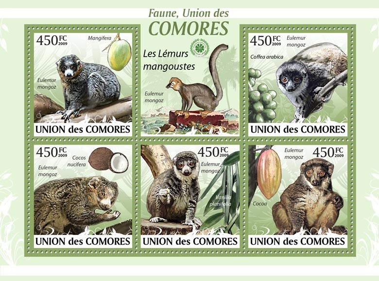 Mongoose Lemurs Mangifera?タᆭEulemur mongoz?タᆵ - Issue of Comoros postage stamps