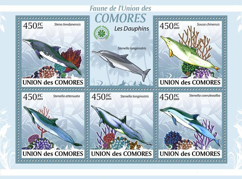 Dolphins Steno bredanensis?タᆭStenella coeruleoalba?タᆵ - Issue of Comoros postage stamps