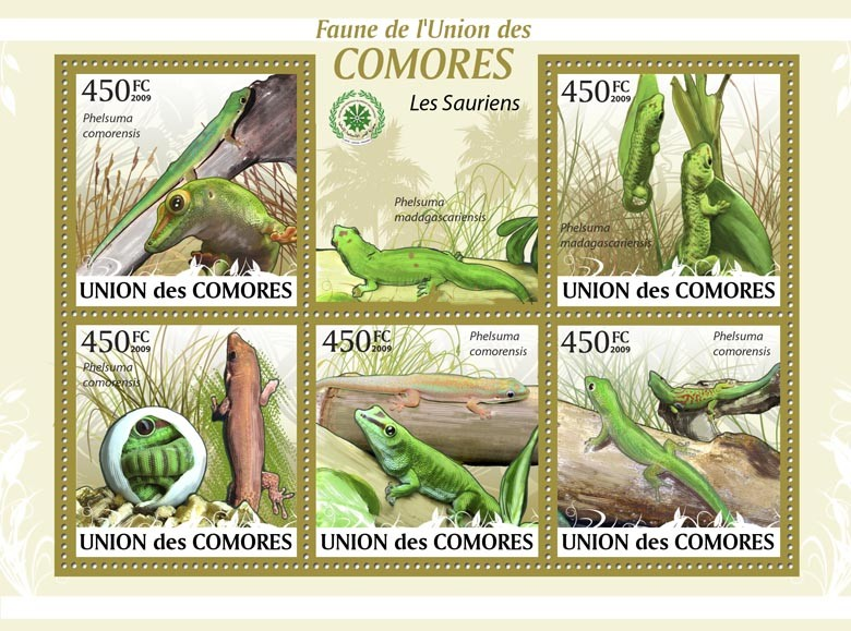 Lizard Phelsuma comorensis?タᆵ - Issue of Comoros postage stamps