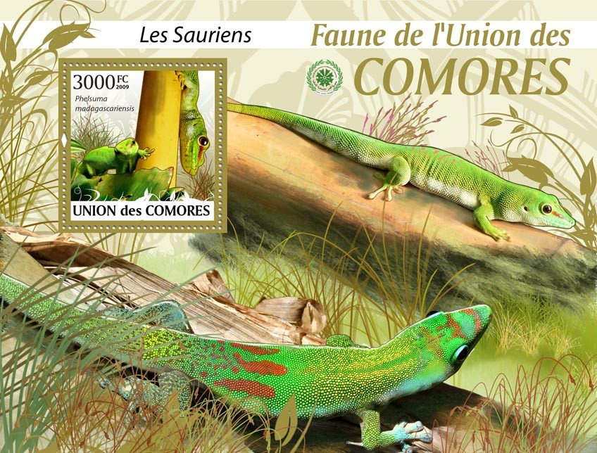 Lizard Phelsuma madagascariensis?タᆵ - Issue of Comoros postage stamps