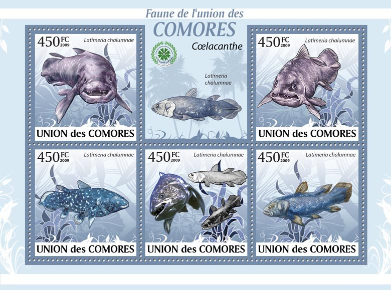 Coelacanth fishes,?タᆵLatimeria chalumnae?タᆵ - Issue of Comoros postage stamps
