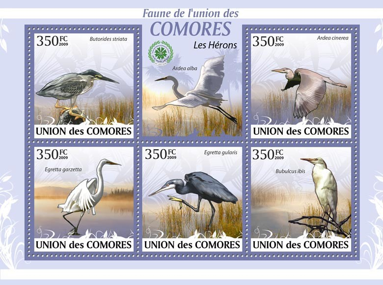 Herons Butorides striata?タᆭBubulcus ibis?タᆵ - Issue of Comoros postage stamps