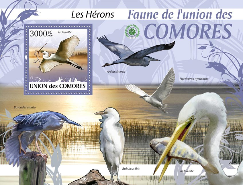 Herons Ardea alba?タᆵ - Issue of Comoros postage stamps