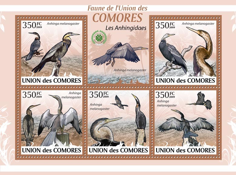 Snake bird Anhinga melanogaster ?タᆵ - Issue of Comoros postage stamps