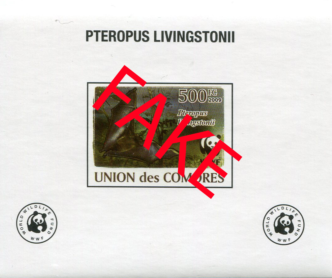 Fake stamps of the Comores. Pteropus livingstonii 1