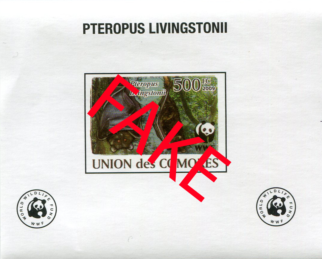 Fake stamps of the Comores. Pteropus livingstonii 2