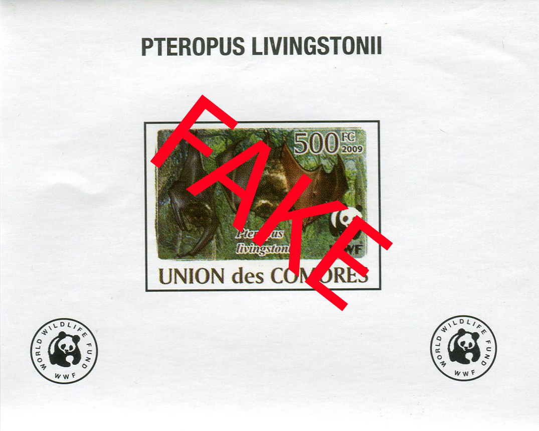 Fake stamps of the Comores. Pteropus livingstonii 3