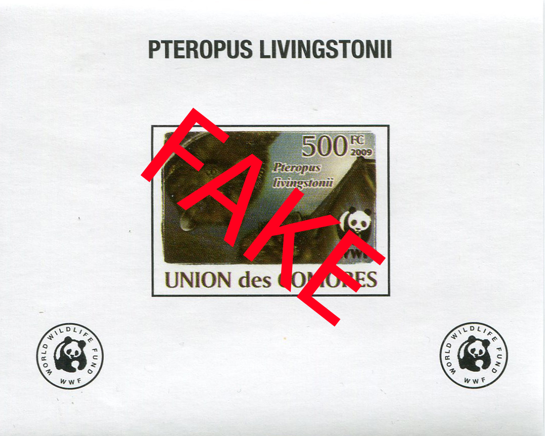 Fake stamps of the Comores. Pteropus livingstonii 4